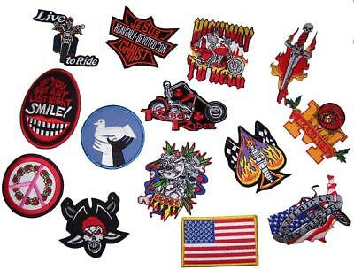 GRAB BAG OF 25 PIECES ASSORTED EMBROIDERED 3 TO 4 INCH PATCHES novelty patch new