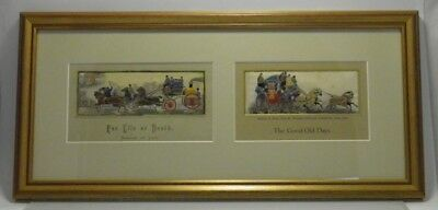 Antique 19th century Stevengraph For Life Or Death & The Good Old Days framed