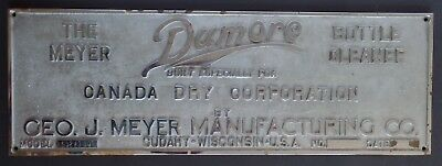 "Vintage 1966 Dumore Bottle Cleaner Canada Dry Soda Bronze Sign 27"" x 9.25 """