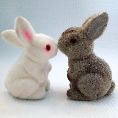 """Two Vintage FLOCKED 4"""" EASTER BUNNY RABBITS 1 White & Pink - 1 Gray &  Brown"""