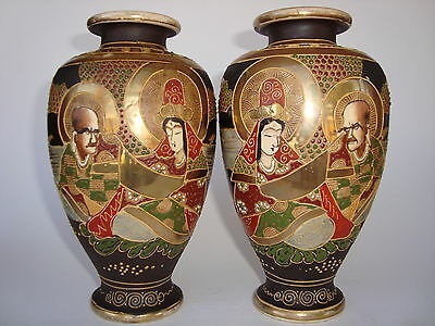 "7 1/4"" (18.4cm) Mirrored Pair Signed Antique Meiji Period JAPANESE SATSUMA Vases"