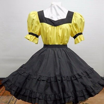 2 Piece Black And Yellow Square Dance Dress