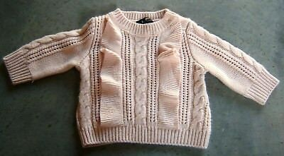 Bardot Junior Baby Girls Pale Pink Cable Knit Jumper Sz 00