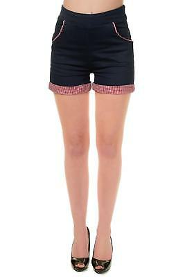 Denim Gingham Rockabilly Vintage 50's Pin Up High Waist Shorts By Banned Apparel
