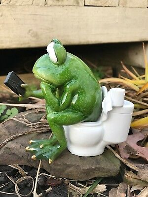 Frog on Toilet 5.75 In Tall Restroom Phone Figurine Statue Collectible GSC61243