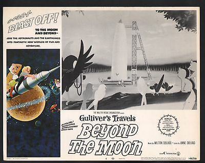 Gulliver's Travels Beyond the Moon Lobby Card-Gulliver standing by a rocket.