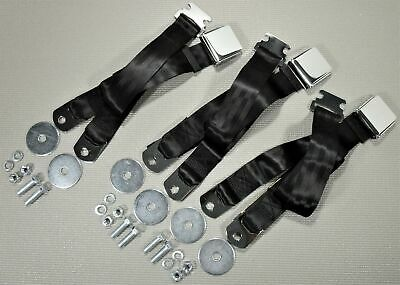 1955-1972 Chevrolet Gmc Pickup Truck Vintage Chrome 3 Black Seat Belt Sets New