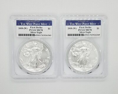 2018 (W) $1 American Silver Eagle PCGS MS70 West Point FS -  LOT of 2