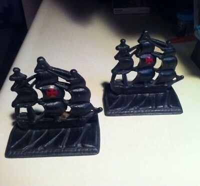 Cast Iron Bookends -  Galleon Spanish Ships ~ Black with Red Cross