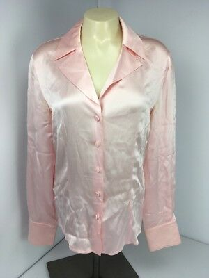 707b239a3f4bdc ESCADA Light Pink Silk Charmeuse Blouse 6 36 Germany Made Button front  collared