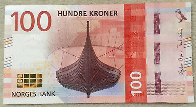 ***NORWAY 100 KRONER 2016 NEW Design VIKING BOAT UNC Currency Bill Banknote***