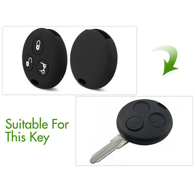 3 Button Silicone Car Key Case Cover Fits for Benz Smart City Roadster Fortwo