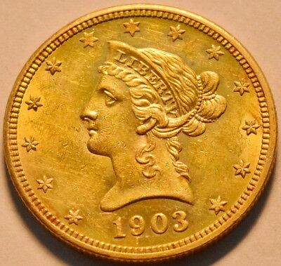 1903 O $10 Gold Liberty Eagle, Better New Orleans Ten Dollar, AU/Uncirculated