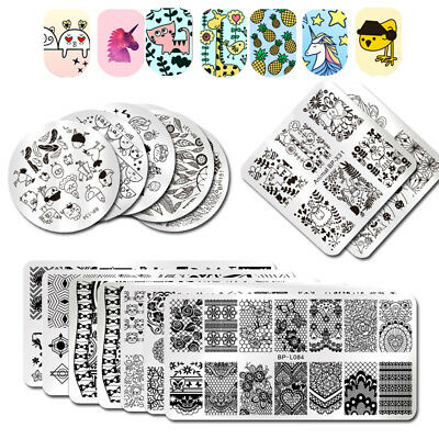 BORN PRETTY Nail Art Stamping Plates Geometry Rose Flower Image Template