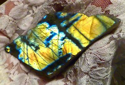 """3"""" Bright Yellow & Blue LABRADORITE Polished Slab 365cts for Cabochons"""