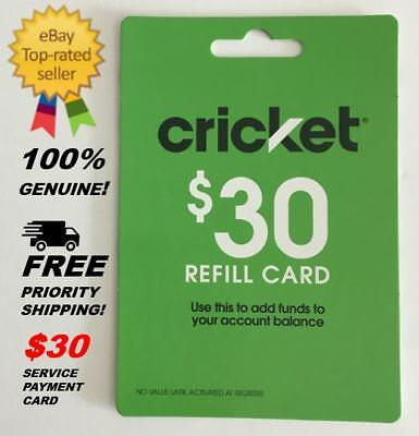 Cricket Wireless Refill Card $30 Refill Card - Brand New Free Priority Shipping!
