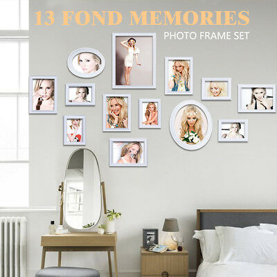 White Multi Picture Photo Frame 13 Pieces Set Wall Frames Set Collage Family New