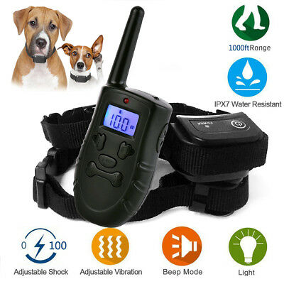 Waterproof 1000ft Electric Remote Control Dog Training Rechargeable Shock Collar