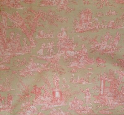La Festival French Style Olive & Pink French Toile De Jouy Cotton Curtain Fabric