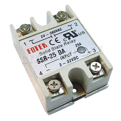 2 SSR DA 25A 24-380VAC 3-32VDC Solid State Relay for PID Temperature Controller