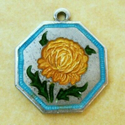 Vintage English Sterling Silver TLM Chrysanthemum Flower of the Month Charm