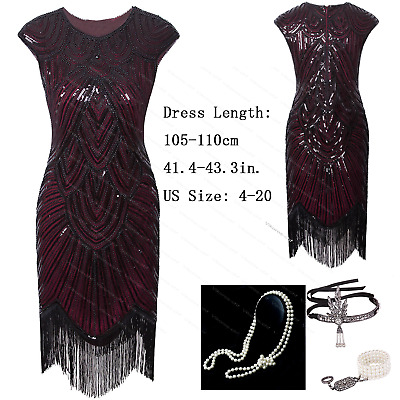 Burgundy Vintage 1920s Flapper Beaded Gatsby Party Evening Prom