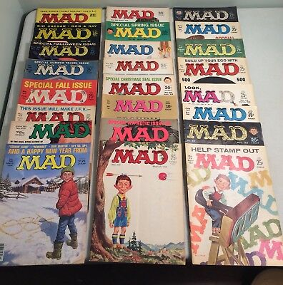 Lot of 24 Vintage MAD Magazines 1958 to 1984 Mostly 1960's Issues