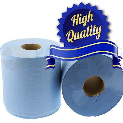 Premium - 6 Pack 2 Ply Blue Embossed Centre Feed Paper Rolls 180Mm X 85M