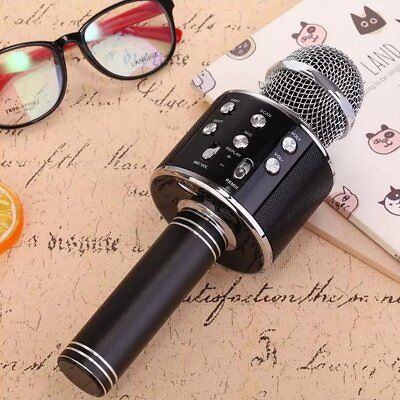 WS-858 Wireless Bluetooth Karaoke Microphone USB Speaker Mini Home KTV Mic Black