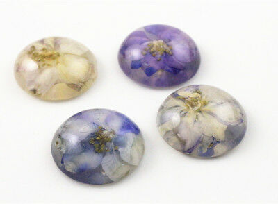 25mm Handmade Resin Dried Flower Cabochons | Purple & White | Mixed Pack 5pcs