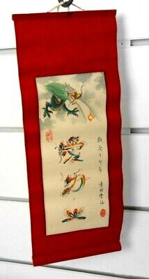 Vintage Chinese Watercolor DRAGON FIREBALL Scroll Signed w/ Oval Seal