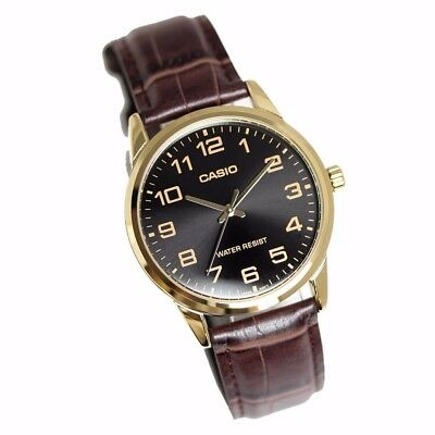 """NEW Casio MTPv001GL-1B Men's BROWN LEATHER Watch """"EASY-READER"""" Dial GOLD tone"""