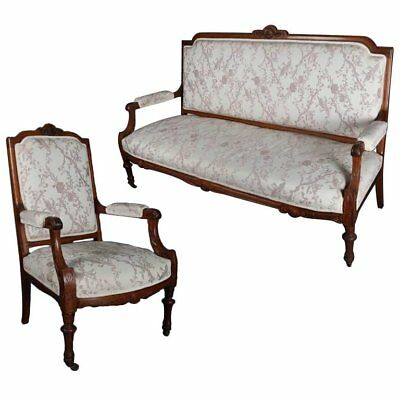 Antique French Louis XVI Carved Walnut Upholstered Sofa and Chair Parlor Set