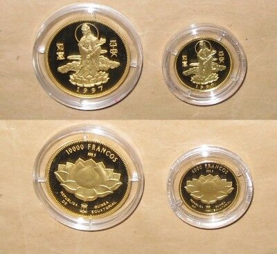 1997 Guinea Goddess of Mercy (Guan Yin) Proof (PP) $F Gold coins SET with COA