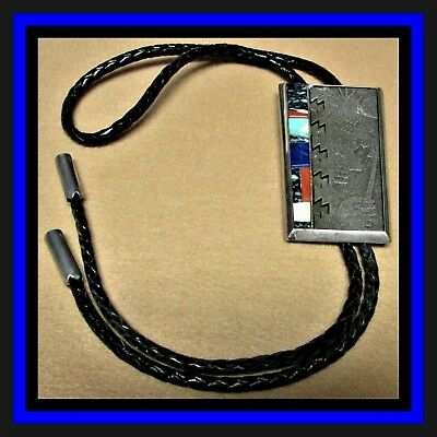 Navajo Cast Sterling Silver & Mosaic Inlay Indian Bolo Tie-Knockout