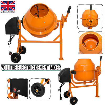 Electric Cement Mixer 70 Litre Drum 250W Portable Concrete Mortar Mixing Machine