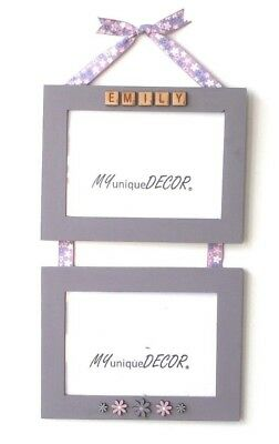 Pink Lilac White Floral Flower Pretty Hanging Photo Picture Frame Handmade