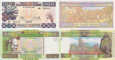 Guinea 2 Note Set: 100 & 500 Francs (2015) - pNew & p47