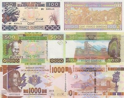 Guinea 3 Note Set: 100, 500 & 1000 Francs (2015) - pNew, p47 & p48