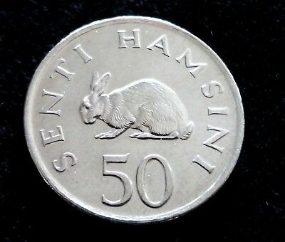 Tanzania 1989 50 Senti Rabbit Coin Rabbits