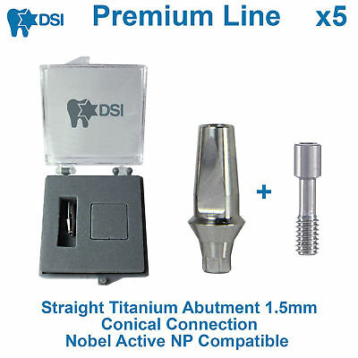 5 x Dental Implant Straight Anatomic Abutment Conical Nobel Active NP 1.5