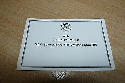 Very Rare And Unusual Rothschild Collectable - Official Compliments Slip - Look!