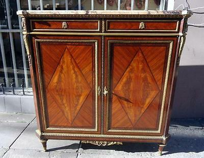 Antique French Louis XVI Sideboard Marble Top and Gilt Bronze Side Cabinet 19th