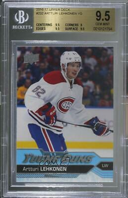 2016 Upper Deck #232 Young Guns Artturi Lehkonen BGS 9.5 GEM MINT RC Hockey Card