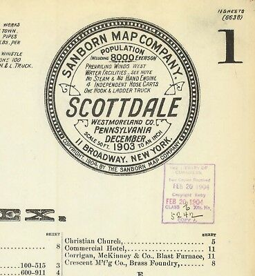 Scottdale, Pennsylvania~Sanborn maps made 1884 to 1914 with 59 maps in color