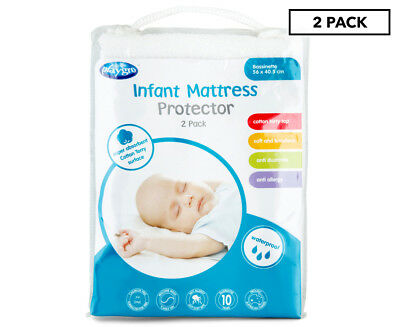 Playgro Cotton Terry Bassinet Infant Mattress Protector 2-Pack - White