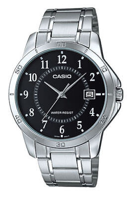 NEW Casio MTP-V004D-1B Mens Stainless Steel Watch Black Dial Date ANALOG Display