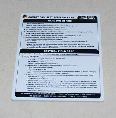 2015 Guidelines Nar Combat Casualty Reference Cards Tccc North American Rescue