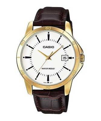 Casio MTP-V004GL-7A Men Stainless Steel GOLD Watch BROWN Leather ANALOG Date NEW