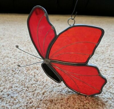 Tiffany Stained Glass Red Butterfly Sun Catcher Collectors Society Hand Crafted